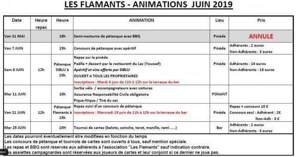 Animations juin